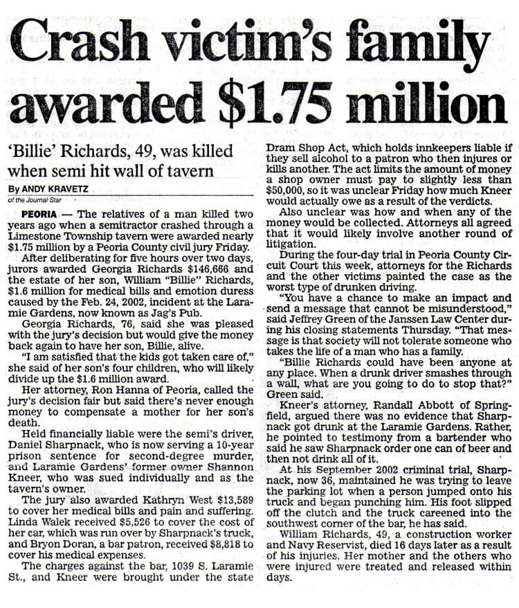 Crash victim's family awarded $1.75 million. Newspaper print story about legal case, Billie Richards v. Laramie Gardens