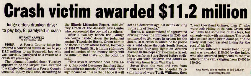 Crash victim awarded $11.2 million. Newspaper print article about DUI injury case, Tyriq Williams v Theodoric Horne.